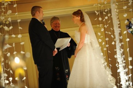 carolyn wore a stunning two tiered silk ribbon-edged veil