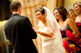 kelly wore a beautiful silk ribbon-edge chapel length veil with a matching blusher