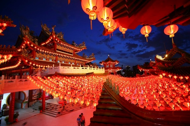 Lanterns are hung in a Chinese temple ahead of Chinese New Year celebrations in Kuala Lumpur